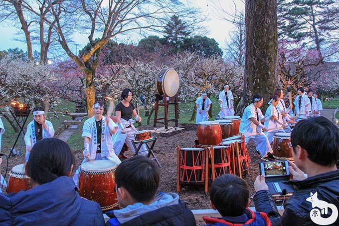 北野天満宮 梅のライトアップ 神若会の方たちによる太鼓の演奏