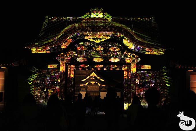 二条城 秋のライトアップ|唐門のプロジェクションマッピング