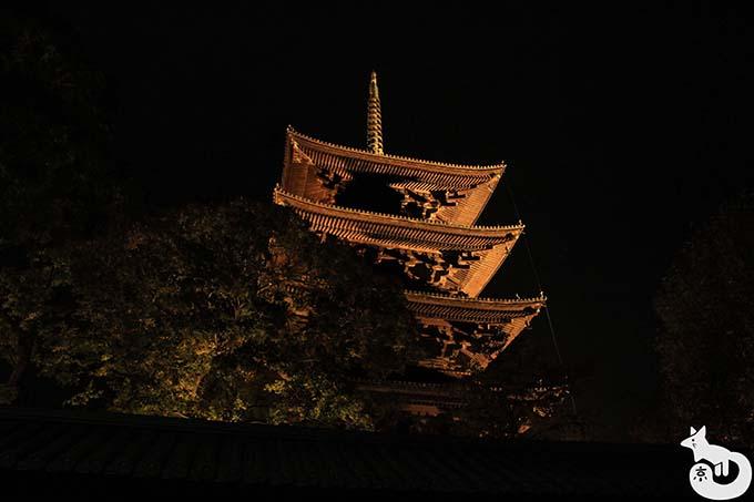 東寺 秋のライトアップ|南大門から撮影した五重塔